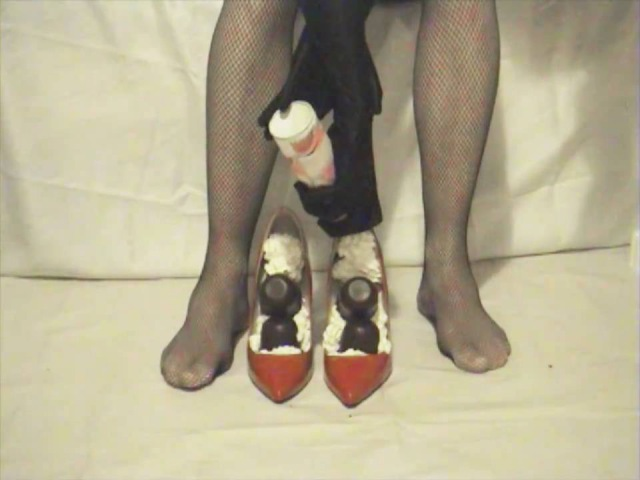 Part 1 of 5 Legshow heelplay and shoefilling Filling my red heels with whipped cream