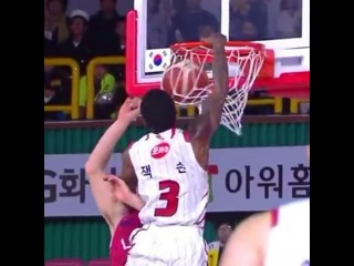 """6'0 Joe Jackson takes OFF on defender in Korea."