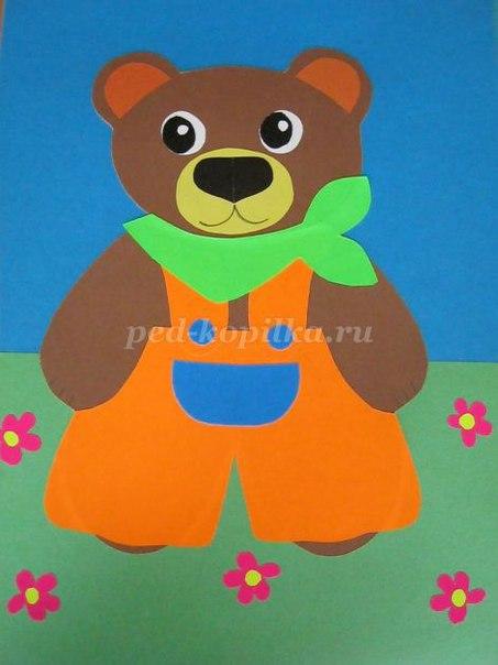 Медведь из цветной бумаги своими руками