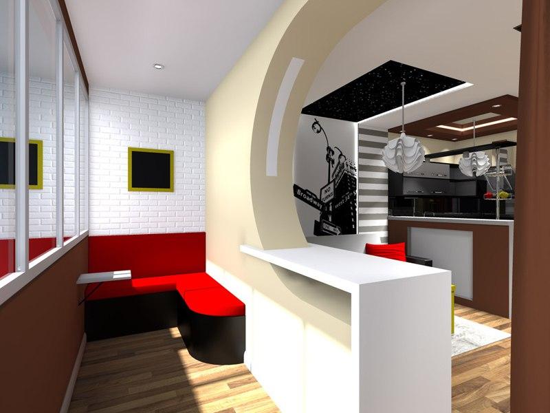 Проект прямоугольной студии 30 м.