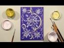 Speed Painting   Snowflakes Greeting Card   Technique Monotype   Gouache   IOTN