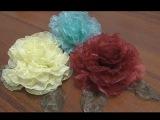 Красивые цветы из органзы  Роза из ткани своими руками