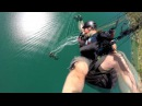 Paragliding accident fall into the canopy - slow motion