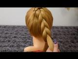 Простая Коса с помощью резинок.Причёска для средних, длинных волос.Плетение косичек для детей [720p]