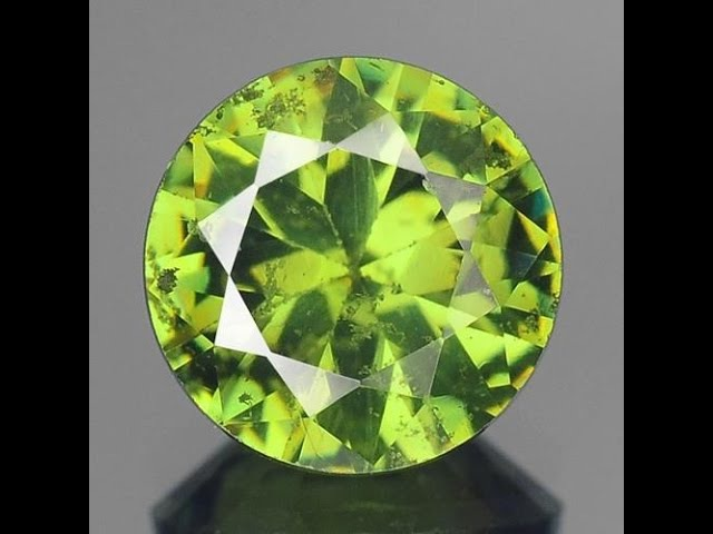 1,60 карата Сертификат 7,10мм Круглый ПРИРОДН ГРАНАТ ДЕМАНТОИД Natural Green Color Demantoid