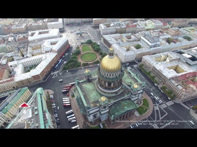 Аэросъемка города Санкт Петербург Сенатская площадь Исаакиевский собор