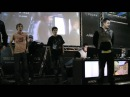 Crazy guy and Na`Vi`Zeus dancing with Venema at IEM5 main stage