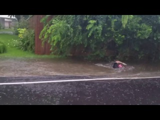 Louisiana man uses floodwater for Olympic swimming practice