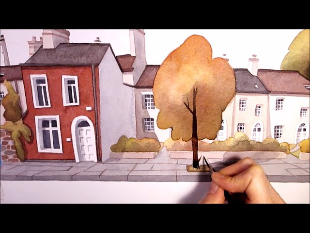 Watercolor Illustration little houses speed painting art by Iraville