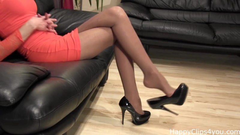 Stockinged feet long legs and high heels dangling by HappyClips4you