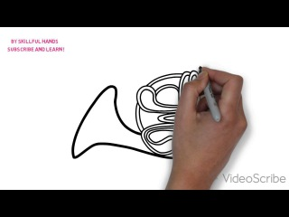 How to Draw a french horn / Как нарисовать валторна