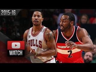 John Wall vs Derrick Rose PG DUEL Highlights (2016.01.11) Bulls vs Wizards - SICK!