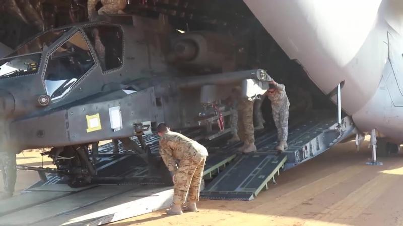 C-17 Dirt Airstrip Landing Takeoff, Unloads AH-64
