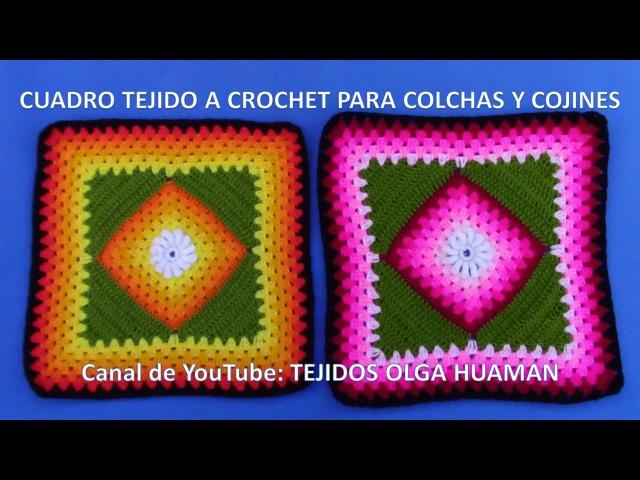 Cuadrado a crochet con flor rococo y cuadrado inclinado para colchas y cojines VIDEO 1