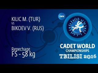 Repechage FS - 58 kg: V. BIKOEV (RUS) df. M. KILIC (TUR), 8-2