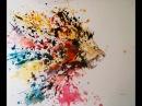 Рисунок акварель Лев методом брызги