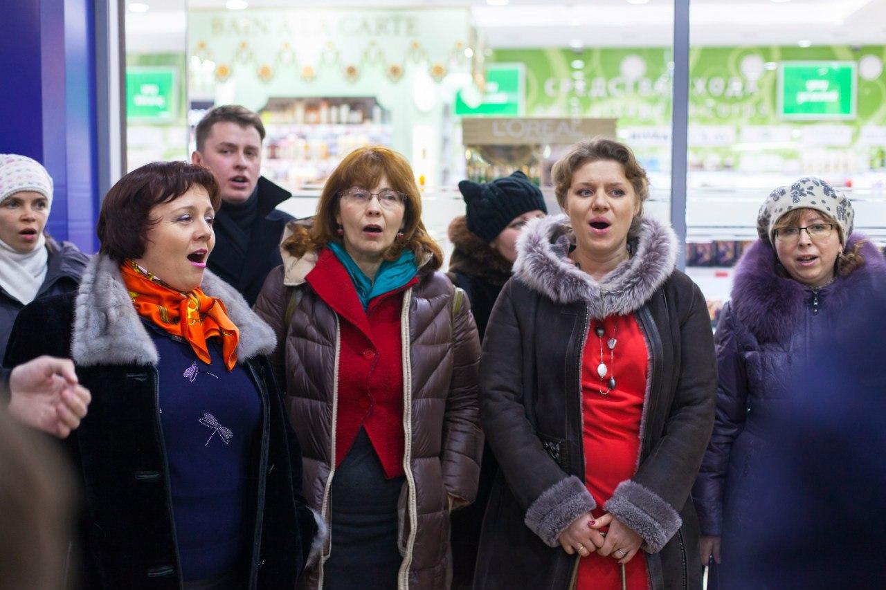 Рождественский флеш-моб в Универмаге