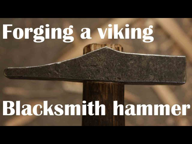 Forging a wrought-iron, welded face viking hammer.