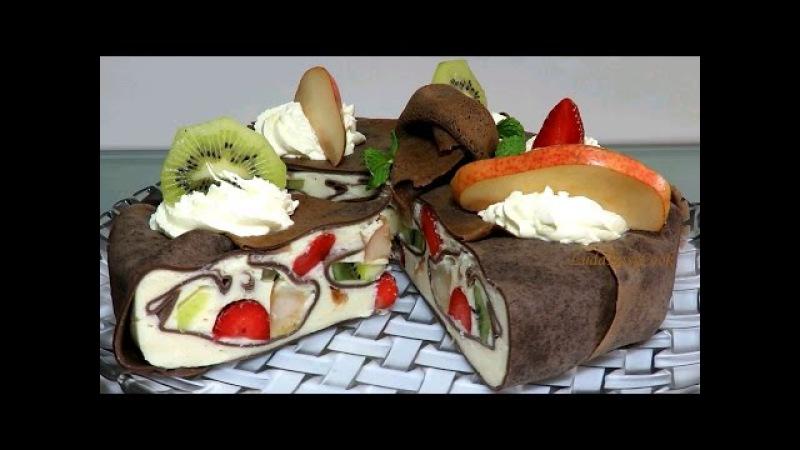 Кожаный Блинный Торт Мусс с фруктами за 1 час Как приготовить Муссовый Торт Agar Bán...