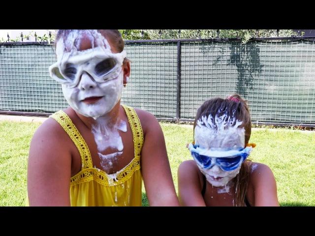 Sema ve Ayça yoğurt yarışmasında. Minişleri arıyoruz. Nail Baba'yla yarışma oyunları