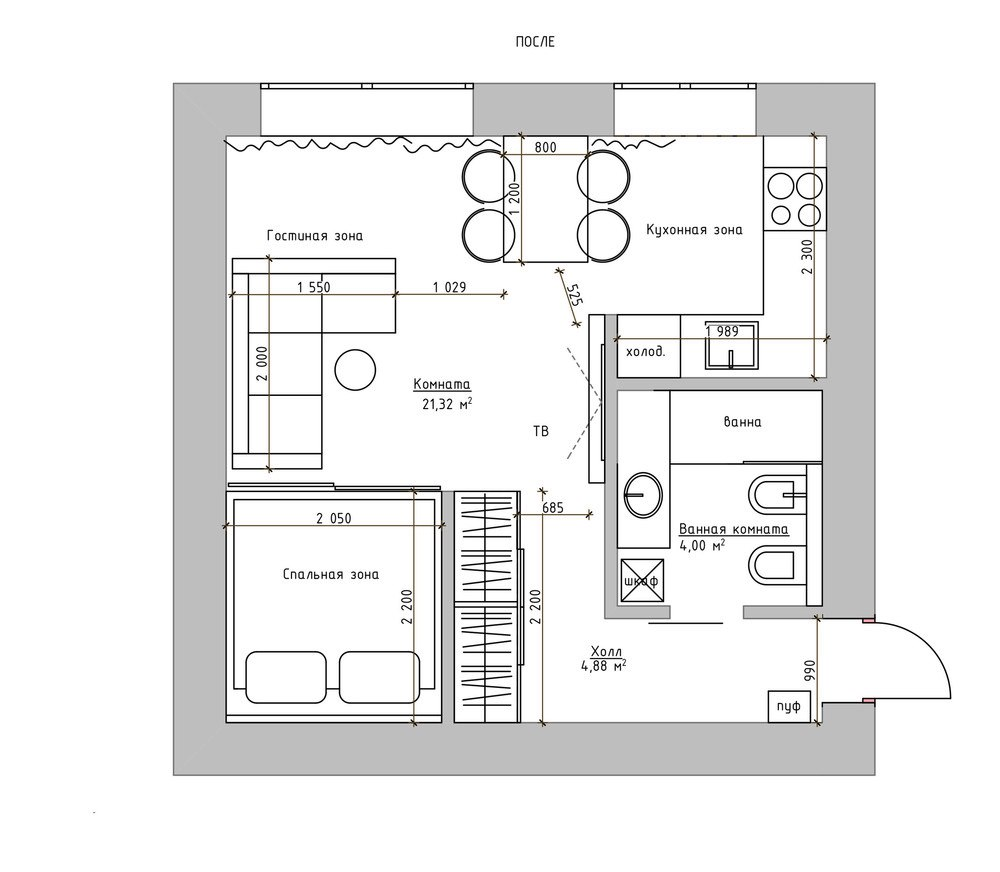 Концепт квартиры 30 м в восточном стиле.