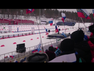 Небольшая часть прохождения этапа гонки преследования и стрельба девушек. Чемпионат Европы по биатлону 28.02.2016.