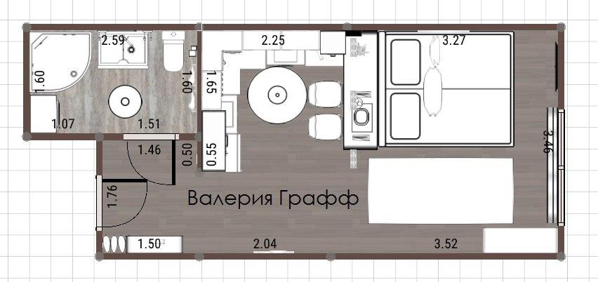 Бюджетный проект квартиры 25 кв.