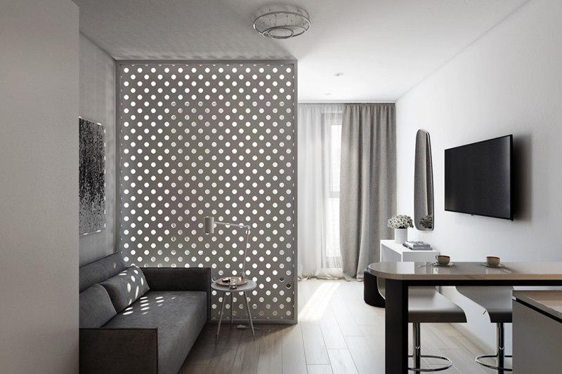 Проект прямоугольной студии 29 м в стиле минимализм.