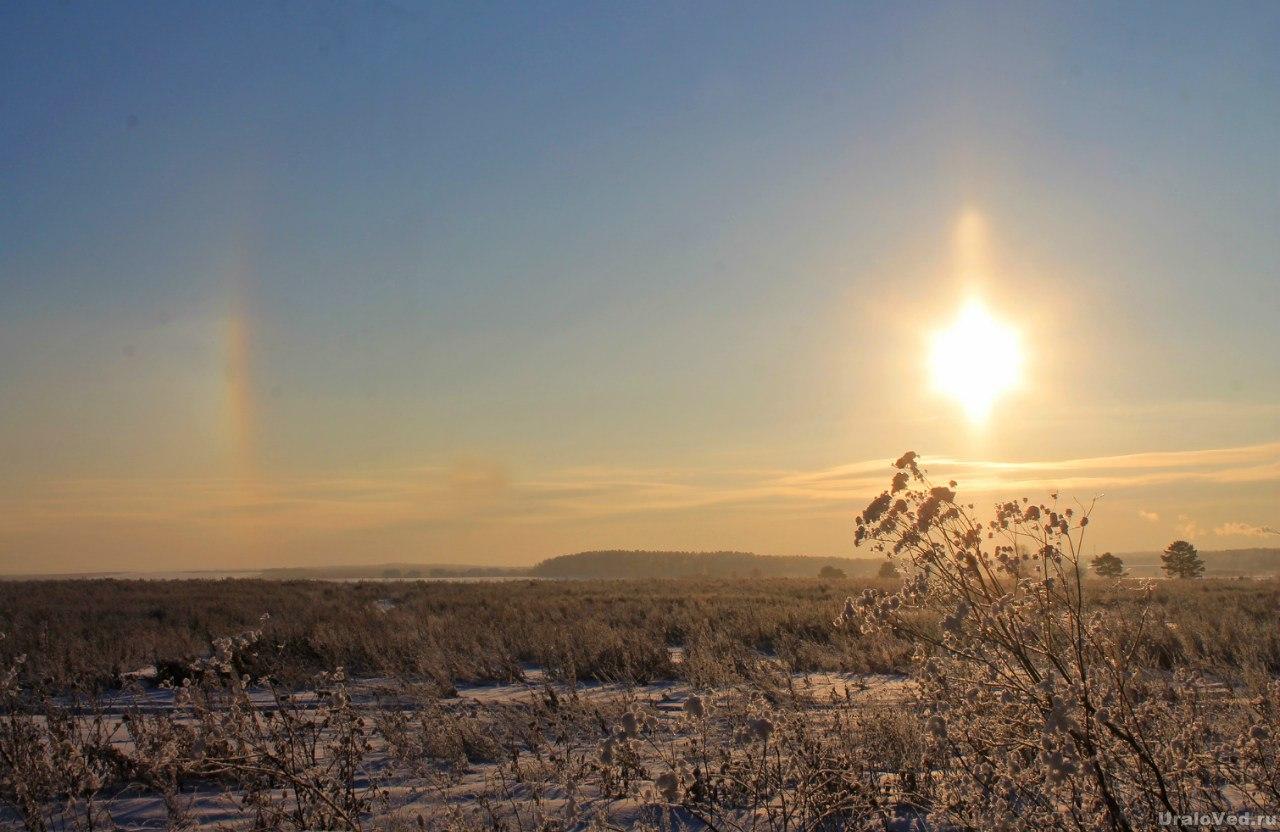 Зимнее солнце с гало