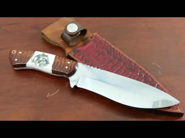 Knife making How to make a Hunting Knife 7 blade tooled snake skin leather sheath scrimshaw handle