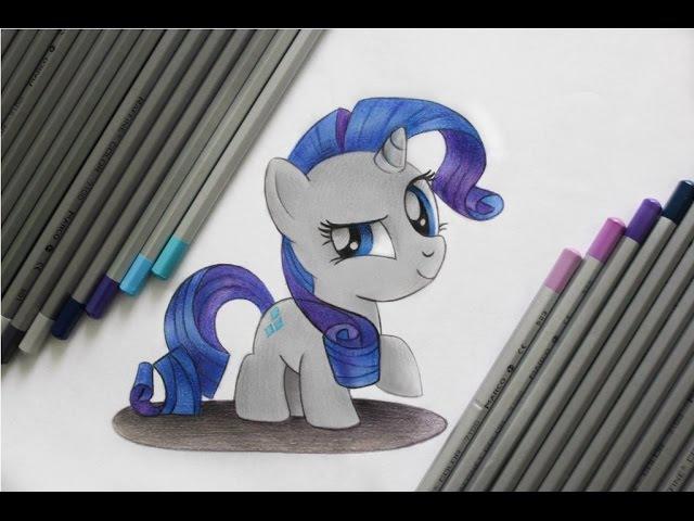 Как нарисовать пони Рарити цветными карандашами. How to draw a pony Rarity