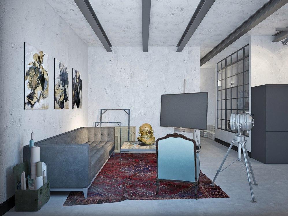 Концепт просторной студии 56 м для холостяка.