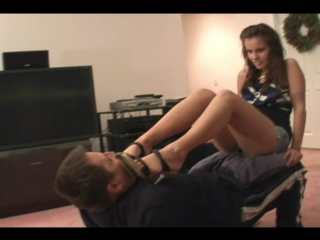 Jenna Footworship on a human chair #femdom #trampling #fetish #foot #ballbusting #footjob #facesitting #coons #socks #piss #fart