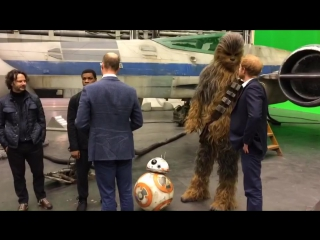 Don't forget bb-8 - the duke and prince harry say hi to the star wars cast!