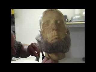 Styling a false lace beard with Makeup-FX.com
