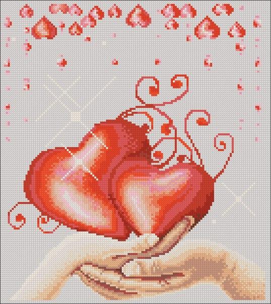 Вышивка сердце ключ