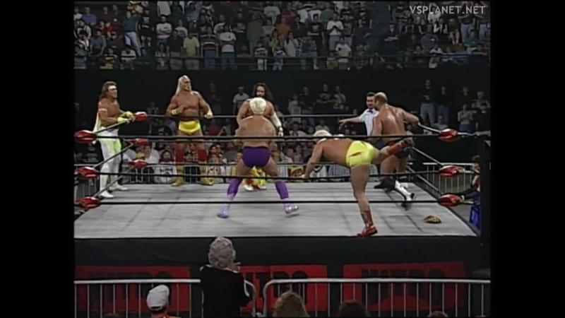 Ric Flair, Kevin Sullivan, Arn Anderson vs Hulk Hogan, Randy Savage Booty-Man, WCW Monday Nitro 26.02.1996