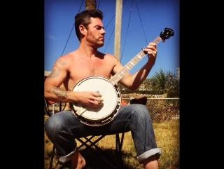 Lee Johnson (Rebel Son) picking banjo -- 2016