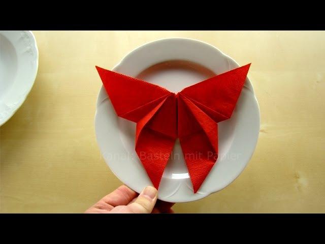 Servietten falten: Schmetterling - Deko Ideen basteln mit Papier-Servietten: Hochzeit, DIY