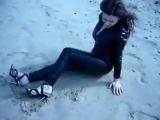 A DAY AT THE BEACH IN VINYL-CATSUIT AND HIGH HEELS