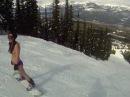 Topless Snowboarding at Kicking Horse Mountain Resort, Canada
