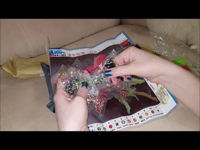 Алмазная вышивка с Aliexpress №6 и7 Роза и Тигр 5D вышивка