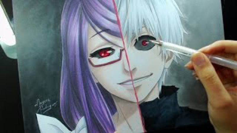 Speed Drawing - Kamishiro Rize\Kaneki Ken (Tokyo Ghoul)