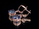 Срібні сережки 925 проби з містичний кварцом в позолоті.