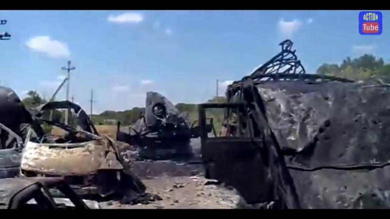 Уничтоженная колонна боевиков с России Destroyed militians motorcade from Russia YouTube 720p