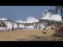 Rocks breaking waves on enclosed beach in Puerto Rico