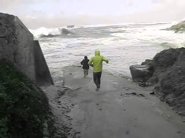 Большая волна уносит людей в море.