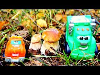 Мультики про машинки. Чак и Рауди собирают грибы в лесу.