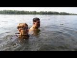 """Эпизод из фильма """"Кролик Блэк"""". Раймонд и Сэм прыгнули с моста в озеро и купаются"""