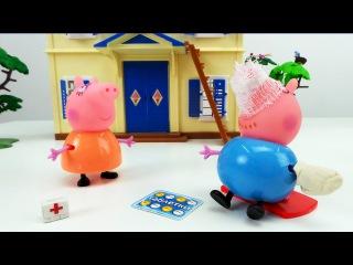 Мультик про семью Свинки Пеппы. Несчастный случай, Папа Свин упал с крыши. Скорая помощь помогает